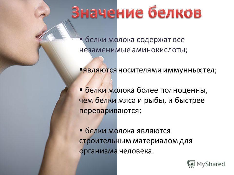 белки молока содержат все незаменимые аминокислоты; являются носителями иммунных тел; белки молока более полноценны, чем белки мяса и рыбы, и быстрее перевариваются; белки молока являются строительным материалом для организма человека.