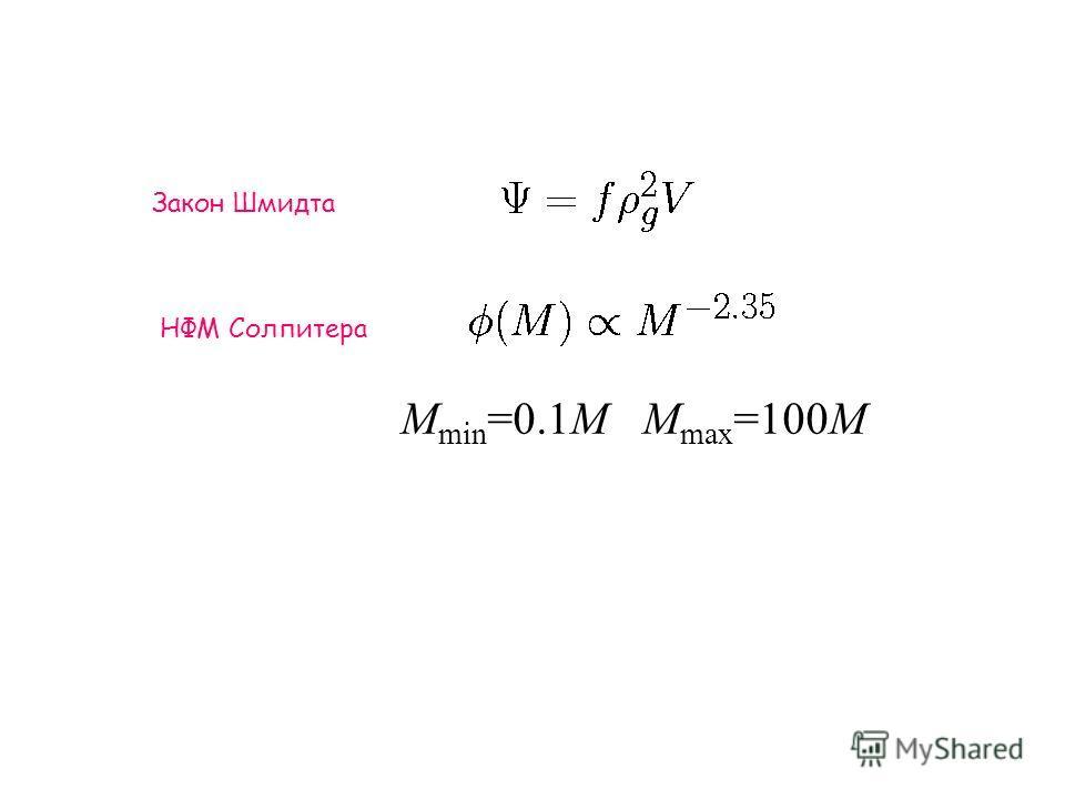 Закон Шмидта НФМ Солпитера M min =0.1M M max =100M
