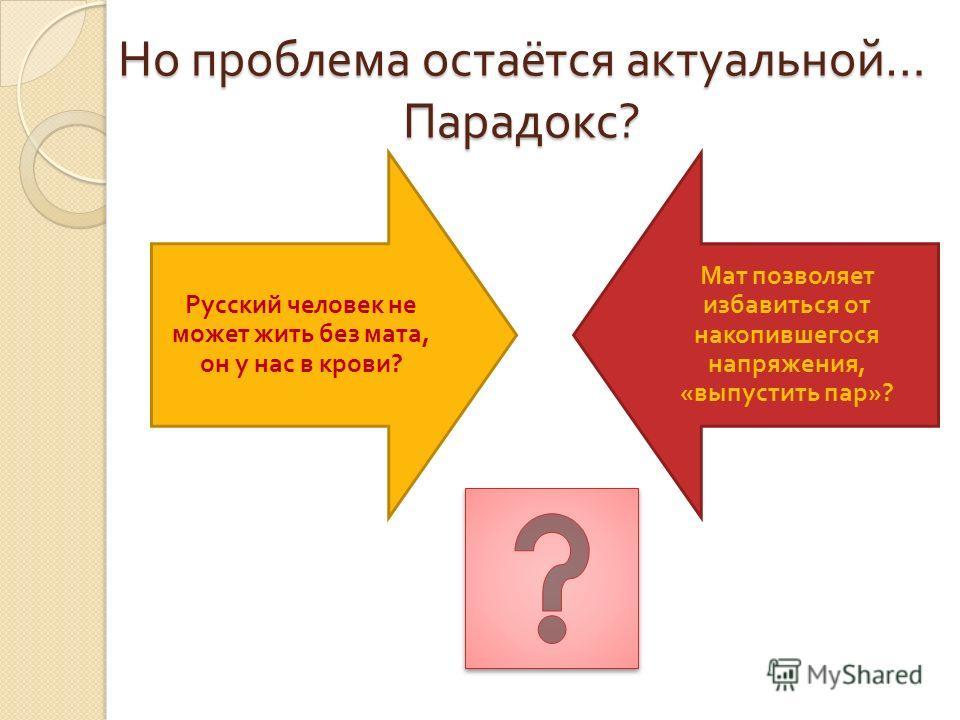 Но проблема остаётся актуальной … Парадокс ? Русский человек не может жить без мата, он у нас в крови ? Мат позволяет избавиться от накопившегося напряжения, « выпустить пар »?