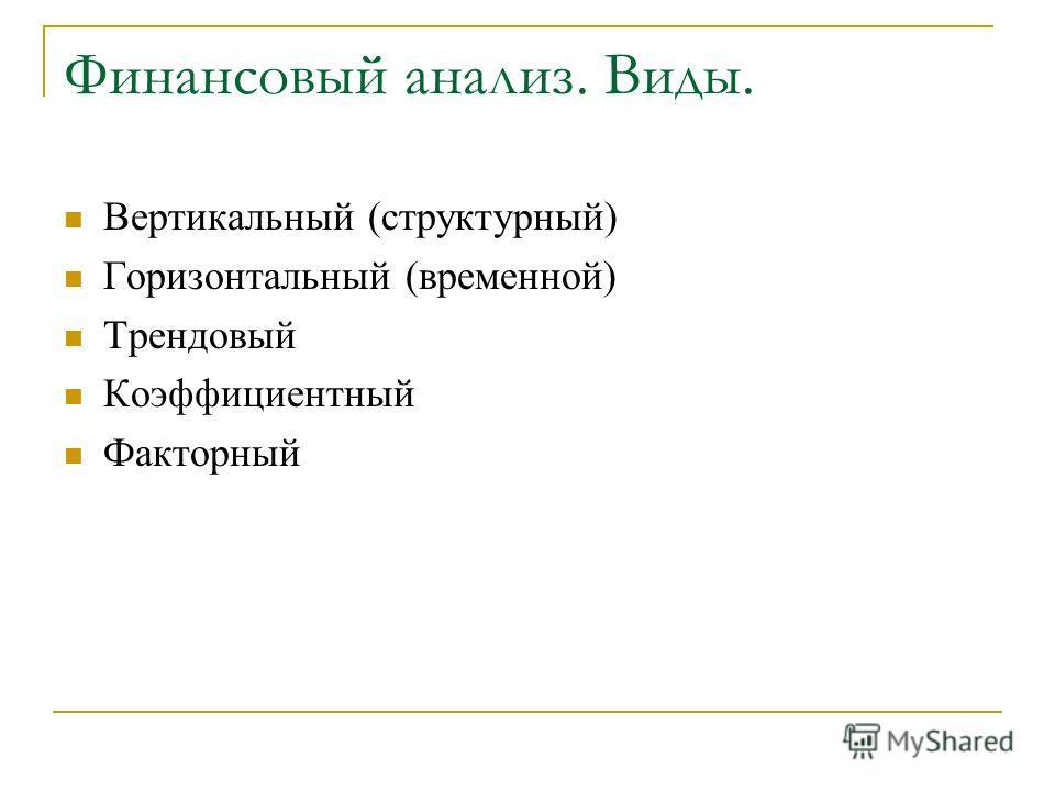 Финансовый анализ. Виды. Вертикальный (структурный) Горизонтальный (временной) Трендовый Коэффициентный Факторный