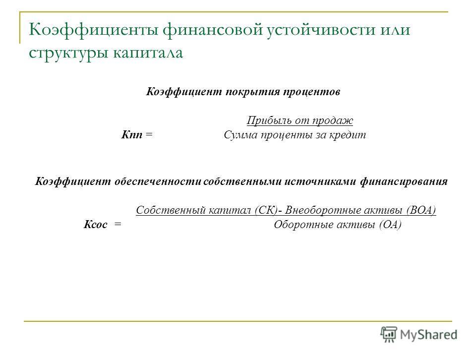 Коэффициенты финансовой устойчивости или структуры капитала Коэффициент покрытия процентов Прибыль от продаж Кпп = Сумма проценты за кредит Коэффициент обеспеченности собственными источниками финансирования Собственный капитал (СК)- Внеоборотные акти