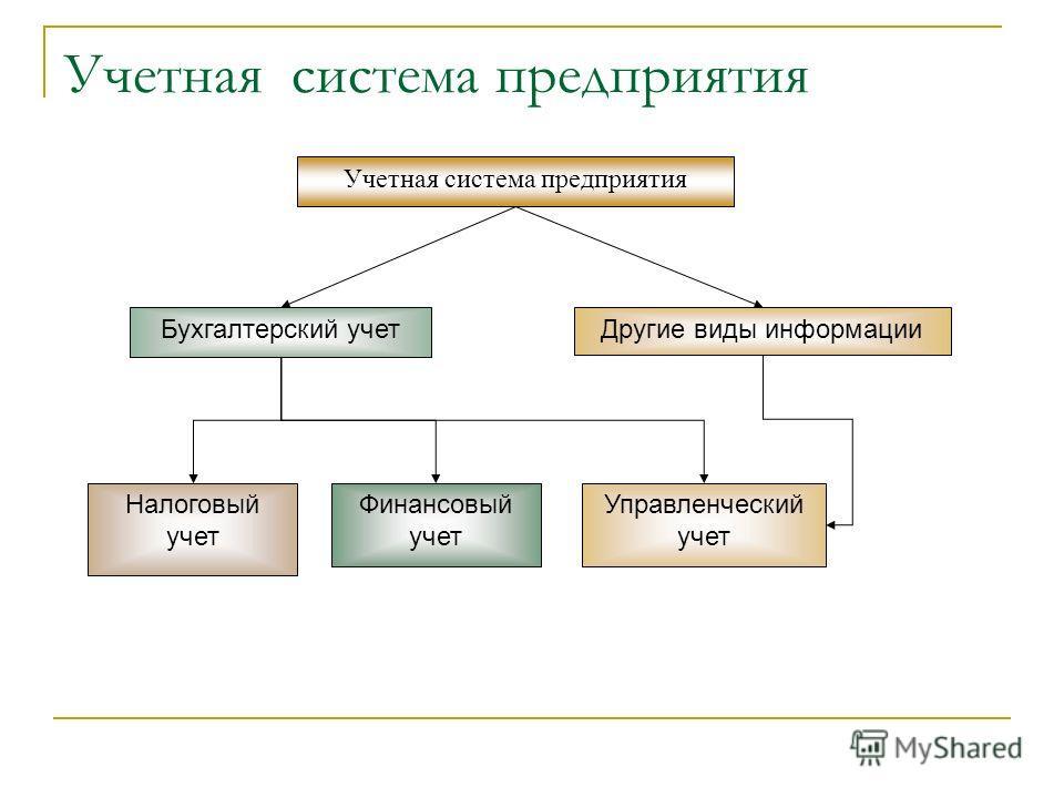 Учетная система предприятия Бухгалтерский учет Другие виды информации Налоговый учет Финансовый учет Управленческий учет