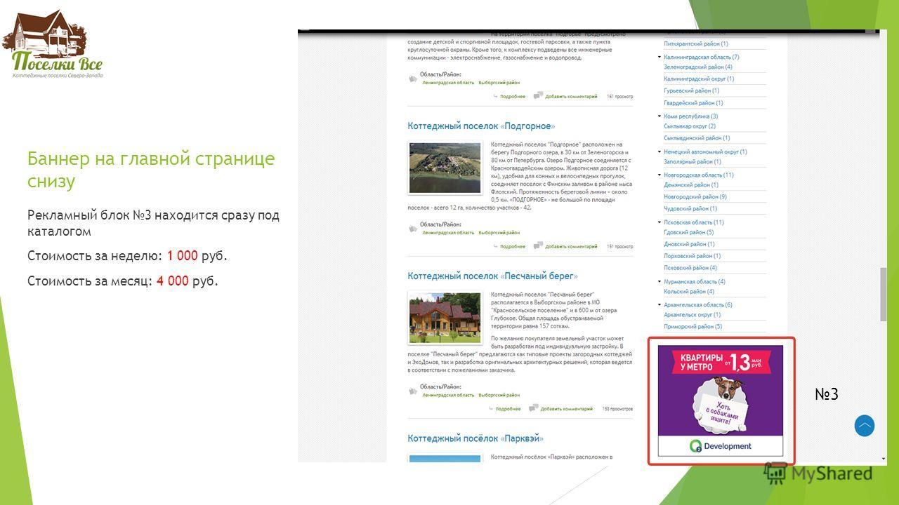 Баннер на главной странице снизу Рекламный блок 3 находится сразу под каталогом Стоимость за неделю: 1 000 руб. Стоимость за месяц: 4 000 руб. 3