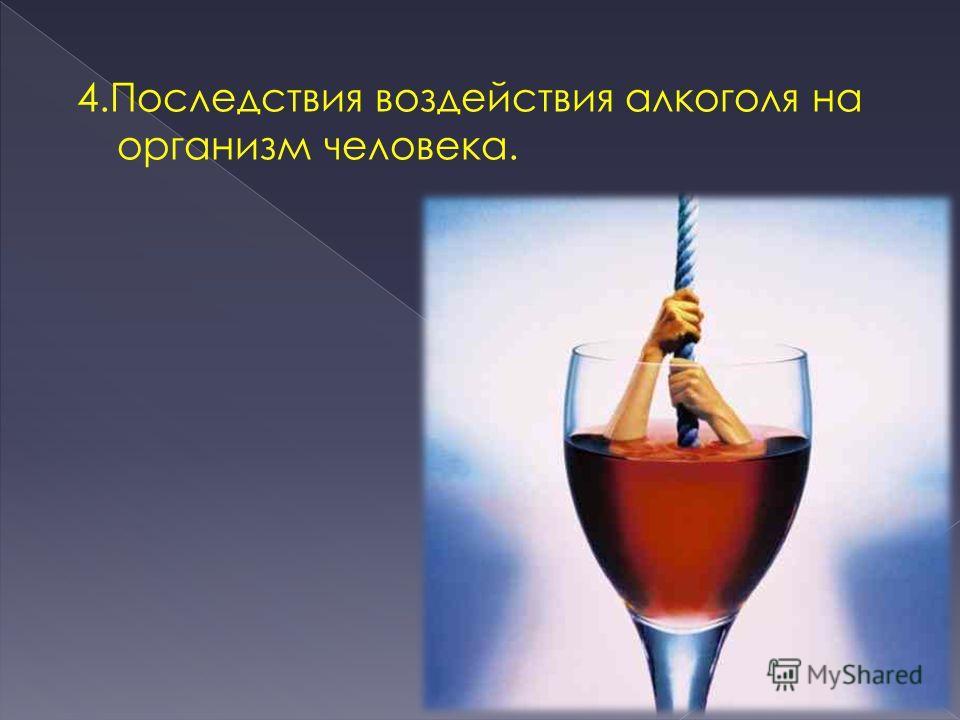 4. Последствия воздействия алкоголя на организм человека.