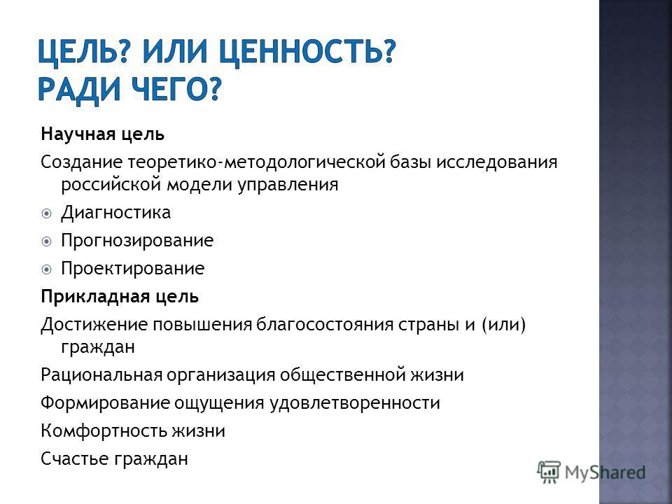 Научная цель Создание теоретико-методологической базы исследования российской модели управления Диагностика Прогнозирование Проектирование Прикладная цель Достижение повышения благосостояния страны и (или) граждан Рациональная организация общественно