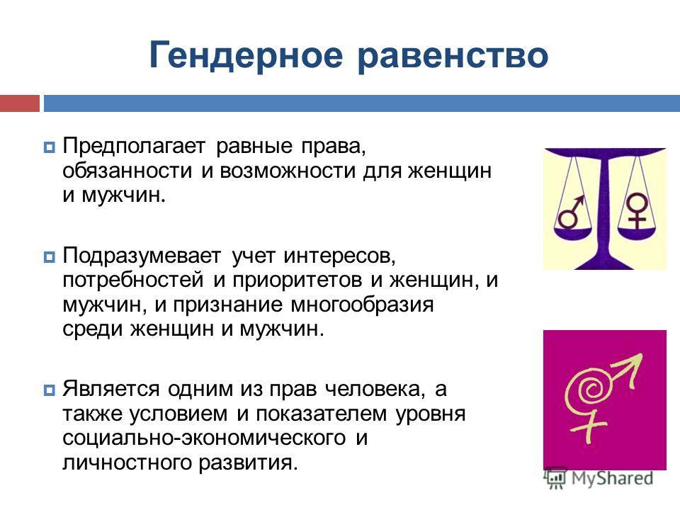 Гендерное равенство Предполагает равные права, обязанности и возможности для женщин и мужчин. Подразумевает учет интересов, потребностей и приоритетов и женщин, и мужчин, и признание многообразия среди женщин и мужчин. Является одним из прав человека