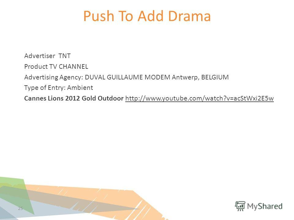 Push To Add Drama 25 Advertiser TNT Product TV CHANNEL Advertising Agency: DUVAL GUILLAUME MODEM Antwerp, BELGIUM Type of Entry: Ambient Cannes Lions 2012 Gold Outdoor http://www.youtube.com/watch?v=acStWxi2E5w