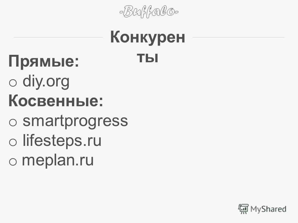 Прямые: o diy.org Косвенные: o smartprogress o lifesteps.ru o meplan.ru Конкурен ты