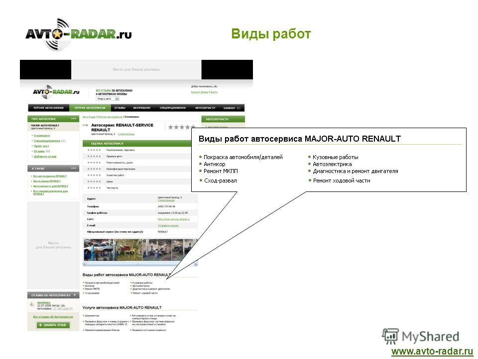 Виды работ www.avto-radar.ru