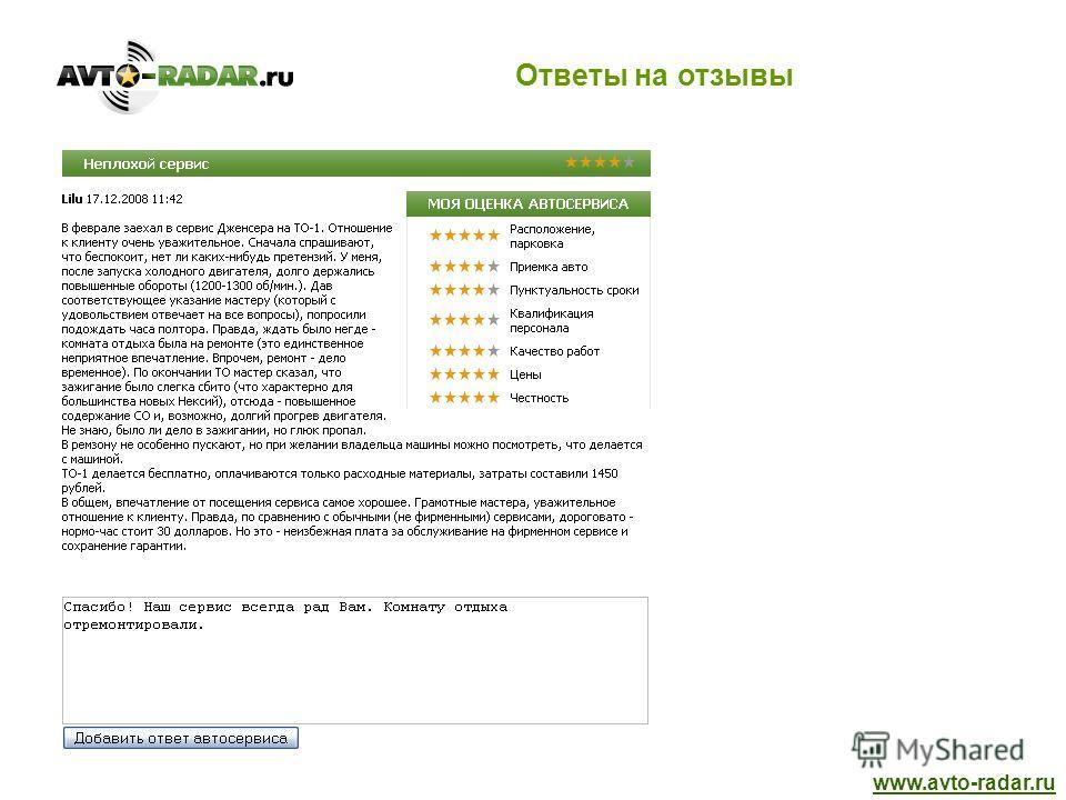 Ответы на отзывы www.avto-radar.ru