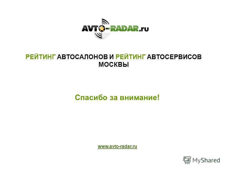 Спасибо за внимание! www.avto-radar.ru РЕЙТИНГ АВТОСАЛОНОВ И РЕЙТИНГ АВТОСЕРВИСОВ МОСКВЫ