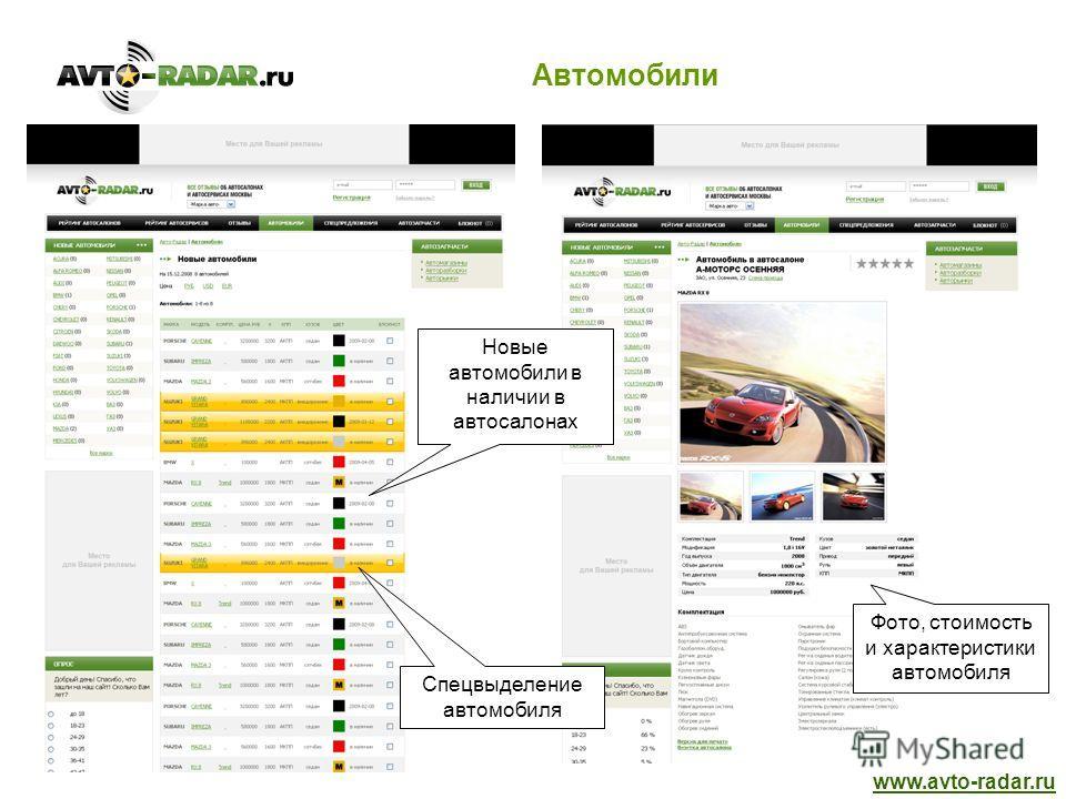 Автомобили www.avto-radar.ru Новые автомобили в наличии в автосалонах Фото, стоимость и характеристики автомобиля Спецвыделение автомобиля