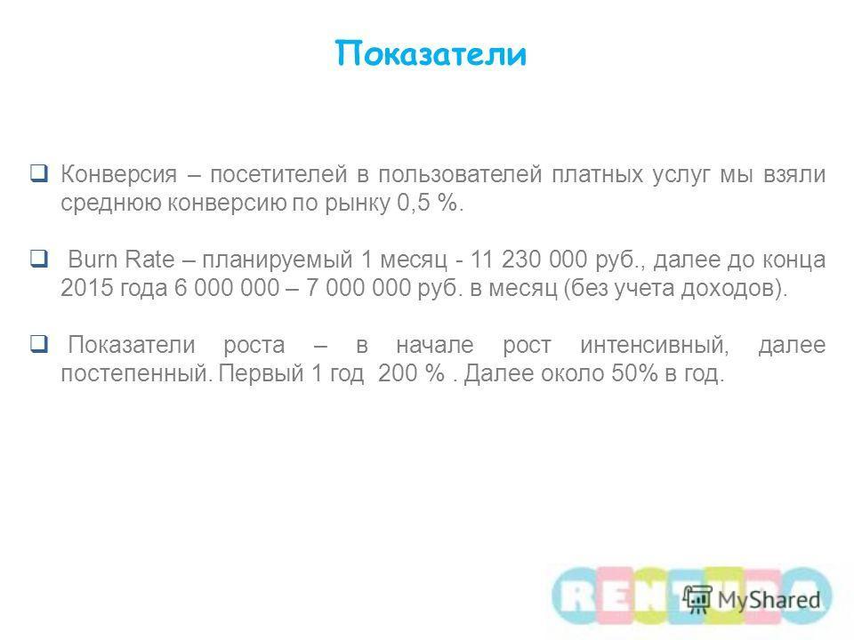Конверсия – посетителей в пользователей платных услуг мы взяли среднюю конверсию по рынку 0,5 %. Burn Rate – планируемый 1 месяц - 11 230 000 руб., далее до конца 2015 года 6 000 000 – 7 000 000 руб. в месяц (без учета доходов). Показатели роста – в