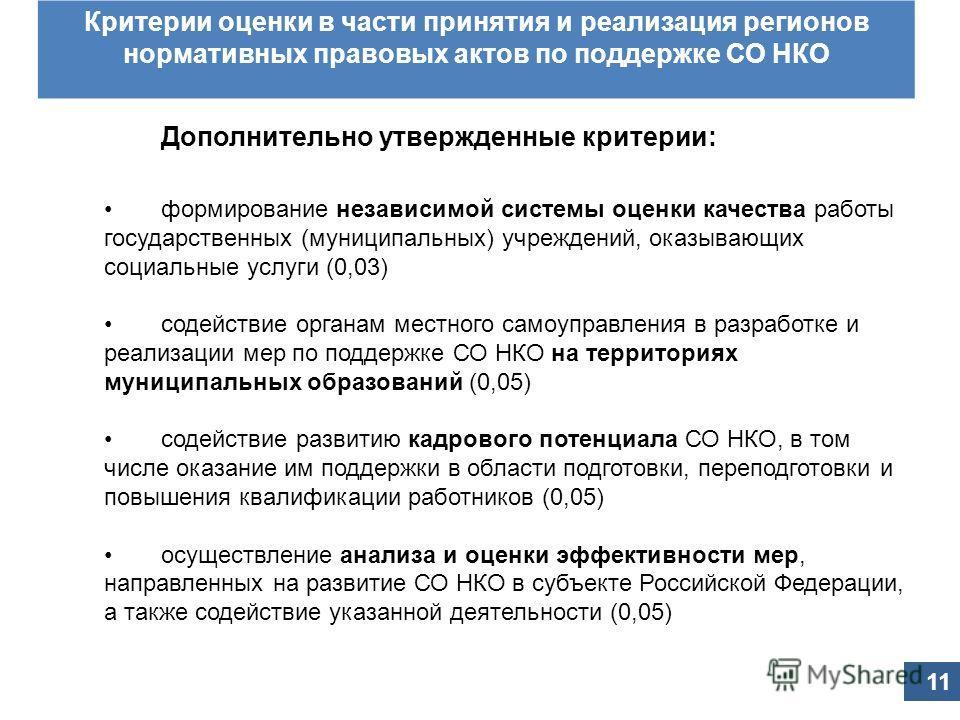 Принятые изменения в постановление Правительства Российской Федерации от 23 августа 2011 г. 713 Критерии оценки в части принятия и реализация регионов нормативных правовых актов по поддержке СО НКО Дополнительно утвержденные критерии: формирование не