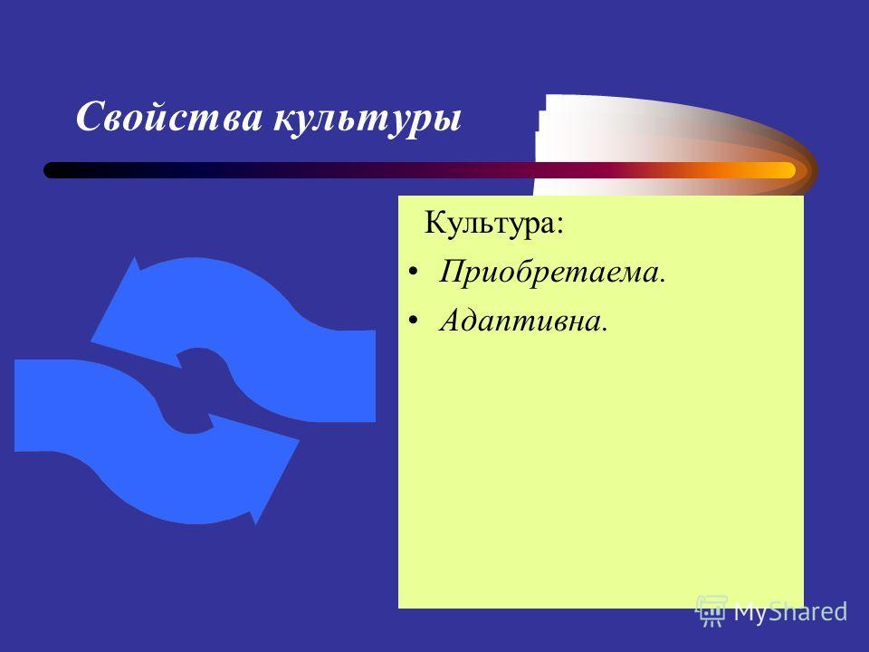 Свойства культуры Культура: Приобретаема. Адаптивна.