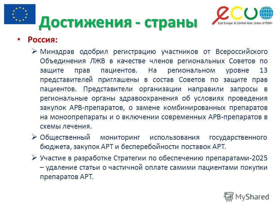 Достижения - страны Россия: Минздрав одобрил регистрацию участников от Всероссийского Объединения ЛЖВ в качестве членов региональных Советов по защите прав пациентов. На региональном уровне 13 представителей приглашены в состав Советов по защите прав