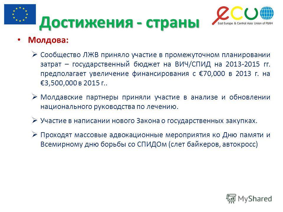 Молдова: Сообщество ЛЖВ приняло участие в промежуточном планировании затрат – государственный бюджет на ВИЧ/СПИД на 2013-2015 гг. предполагает увеличение финансирования с 70,000 в 2013 г. на 3,500,000 в 2015 г.. Молдавские партнеры приняли участие в