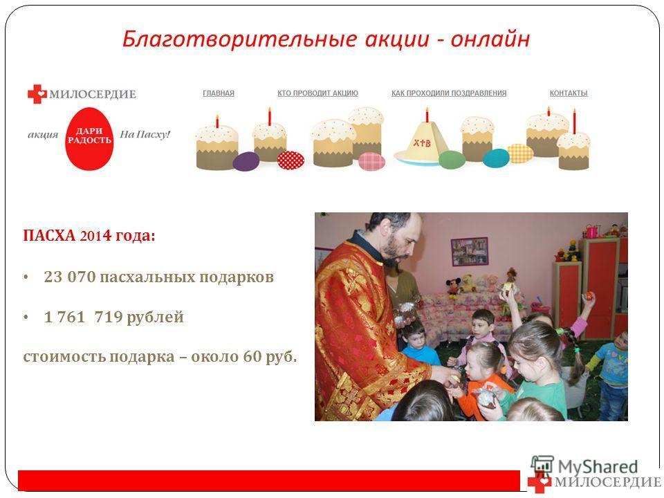 ПАСХА 2014 года : 23 070 пасхальных подарков 1 761 719 рублей стоимость подарка – около 60 руб. Благотворительные акции - онлайн