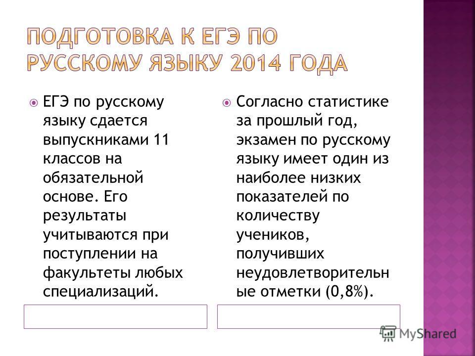 ЕГЭ по русскому языку сдается выпускниками 11 классов на обязательной основе. Его результаты учитываются при поступлении на факультеты любых специализаций. Согласно статистике за прошлый год, экзамен по русскому языку имеет один из наиболее низких по