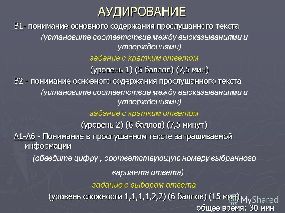 АУДИРОВАНИЕ В1- понимание основного содержания прослушанного текста (установите соответствие между высказываниями и утверждениями) задание с кратким ответом (уровень 1) (5 баллов) (7,5 мин) В2 - понимание основного содержания прослушанного текста (ус