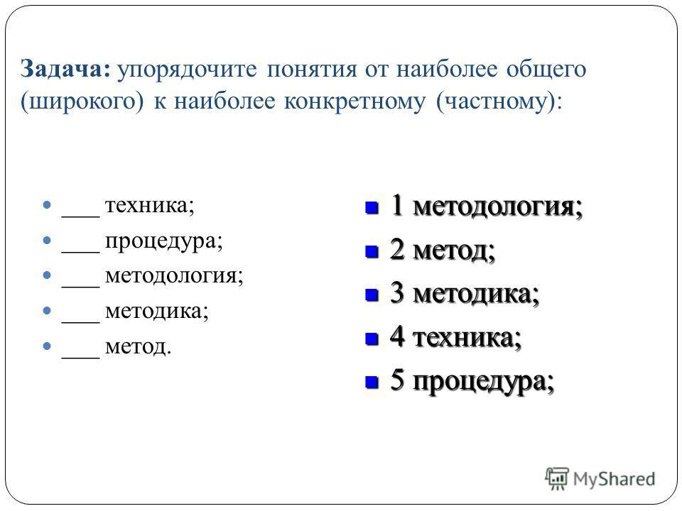 Задача: упорядочите понятия от наиболее общего (широкого) к наиболее конкретному (частному): ___ техника; ___ процедура; ___ методология; ___ методика; ___ метод. 1 методология; 1 методология; 2 метод; 2 метод; 3 методика; 3 методика; 4 техника; 4 те