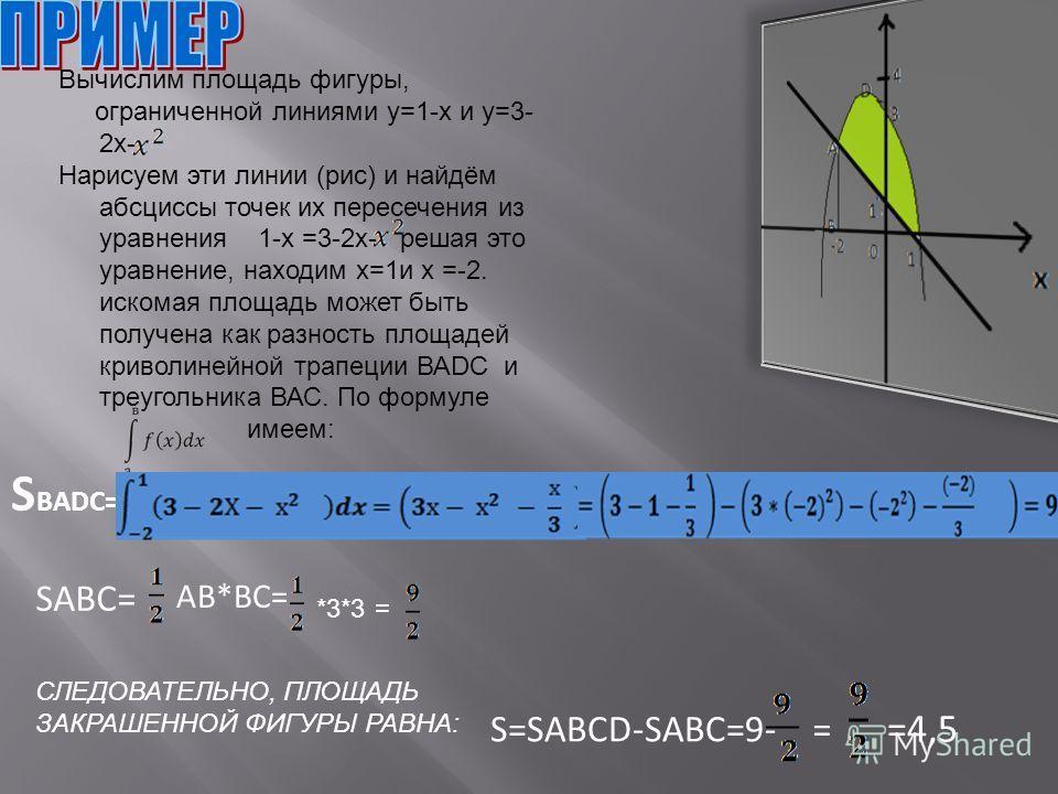 Вычислим площадь фигуры, ограниченной линиями у=1-x и у=3- 2x- Нарисуем эти линии (рис) и найдём абсциссы точек их пересечения из уравнения 1-x =3-2x- решая это уравнение, находим х=1 и х =-2. искомая площадь может быть получена как разность площадей