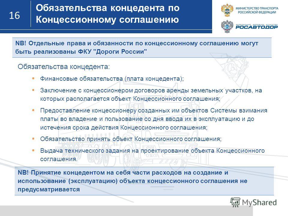 16 NB! Отдельные права и обязанности по концессионному соглашению могут быть реализованы ФКУ