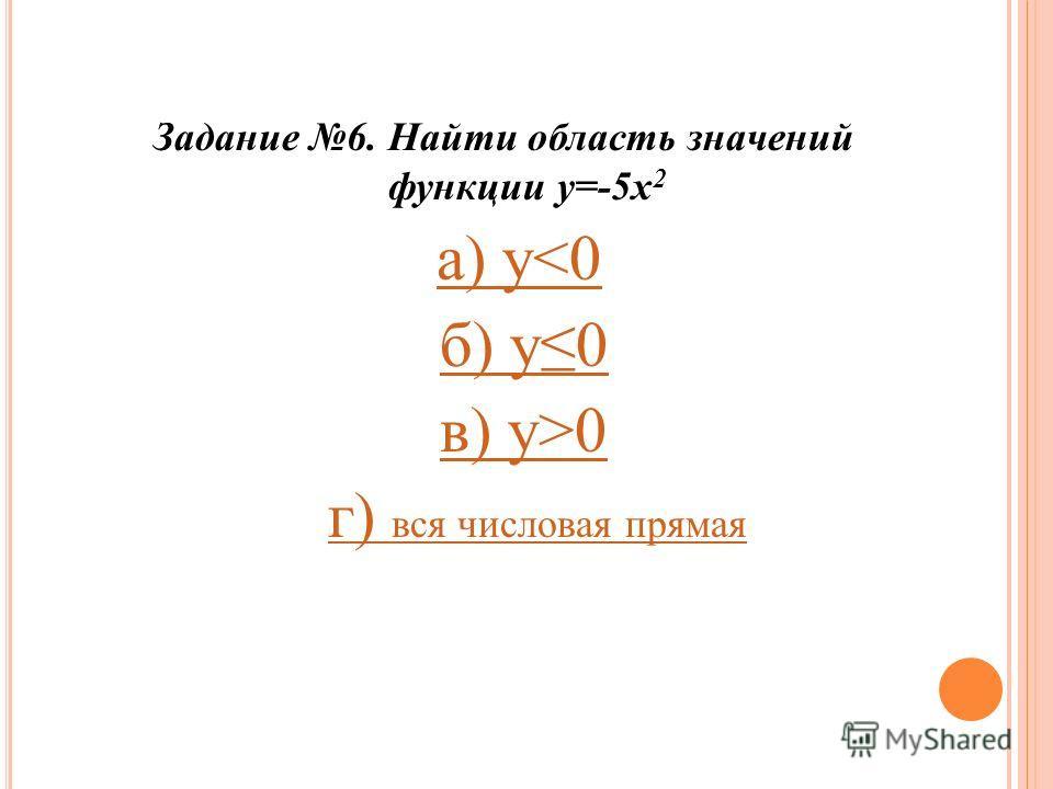 Задание 6. Найти область значений функции у=-5 х 2 а) у0 г) вся числовая прямаяг) вся числовая прямая