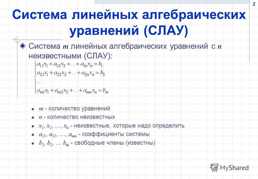 Система линейных алгебраических уравнений (СЛАУ) Система m линейных алгебраических уравнений с n неизвестными (СЛАУ): m - количество уравнений n - количество неизвестных x 1, x 2, …, x n - неизвестные, которые надо определить a 11, a 12, …, a mn - ко