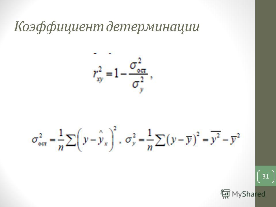 Коэффициент детерминации 31