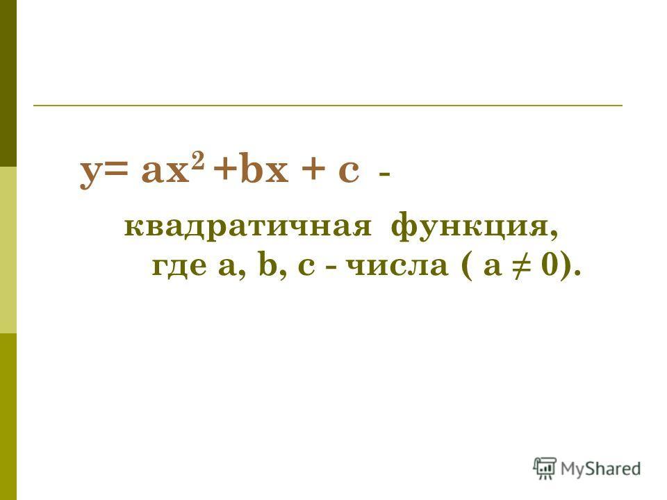 y= ax 2 +bx + c - квадратичная функция, где a, b, c - числа ( а 0).