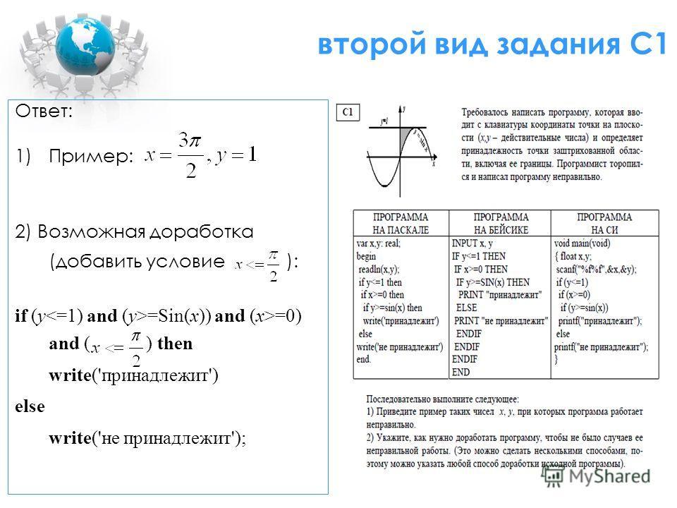 второй вид задания С1 Ответ: 1)Пример: 2) Возможная доработка (добавить условие ): if (y =Sin(x)) and (x>=0) and ( ) then write('принадлежит') else write('не принадлежит');