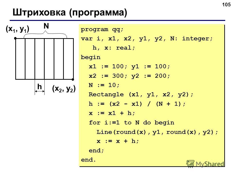 105 Штриховка (программа) (x 1, y 1 ) (x 2, y 2 ) h program qq; var i, x1, x2, y1, y2, N: integer; h, x: real; begin x1 := 100; y1 := 100; x2 := 300; y2 := 200; N := 10; Rectangle (x1, y1, x2, y2); h := (x2 - x1) / (N + 1); x := x1 + h; for i:=1 to N