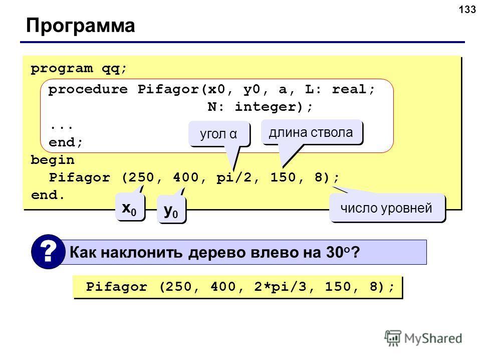 133 Программа program qq; procedure Pifagor(x0, y0, a, L: real; N: integer);... end; begin Pifagor (250, 400, pi/2, 150, 8); end. угол α длина ствола число уровней x0x0 x0x0 y0y0 y0y0 Как наклонить дерево влево на 30 o ? ? Pifagor (250, 400, 2*pi/3,