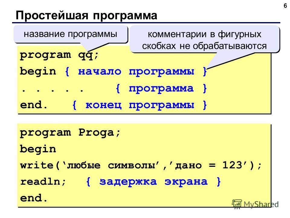 6 Простейшая программа program qq; begin { начало программы }..... { программа } end. { конец программы } program qq; begin { начало программы }..... { программа } end. { конец программы } комментарии в фигурных скобках не обрабатываются название про