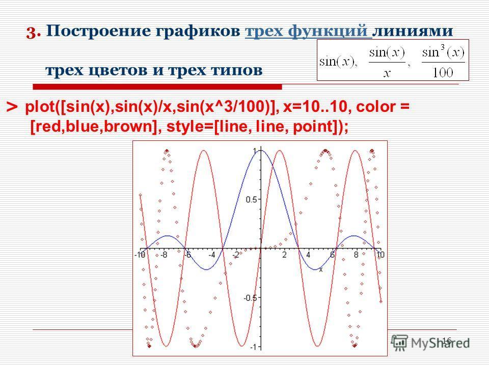 16 3. Построение графиков трех функций линиями трех цветов и трех типовтрех функций > plot([sin(x),sin(x)/x,sin(x^3/100)], x=10..10, color = [red,blue,brown], style=[line, line, point]);