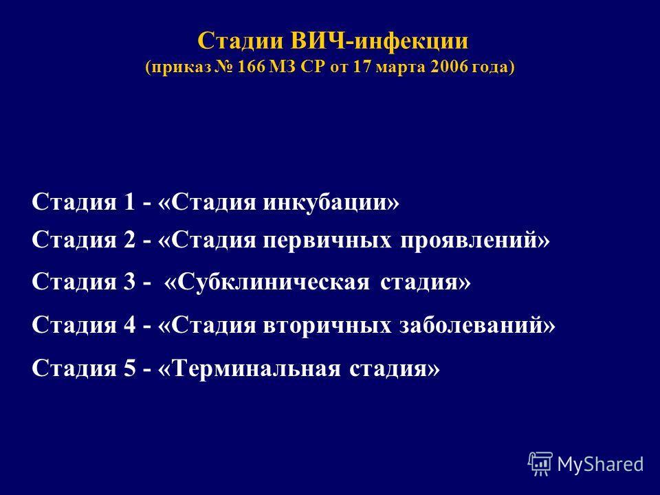 Стадии ВИЧ-инфекции (приказ 166 МЗ СР от 17 марта 2006 года) Стадия 1 - «Стадия инкубации» Стадия 2 - «Стадия первичных проявлений» Стадия 3 - «Субклиническая стадия» Стадия 4 - «Стадия вторичных заболеваний» Стадия 5 - «Терминальная стадия»