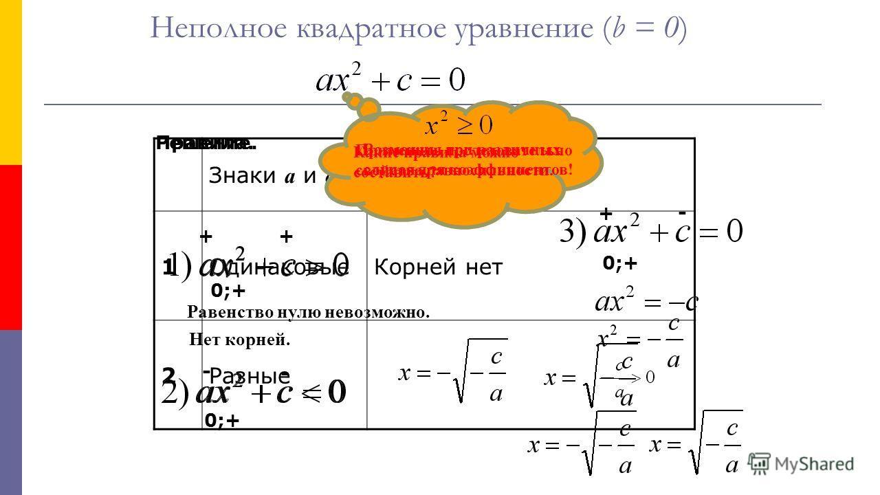 Знаки а и с Корни уравнения 1Одинаковые Корней нет 2Разные Неполное квадратное уравнение (b = 0) Решение. Возможны три различных случая для коэффициентов! ++ 0;+ Равенство нулю невозможно. Нет корней. 0;+ - - 0;+ + - Применить последовательно свойств