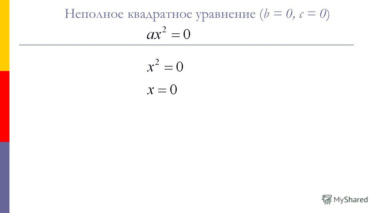 Неполное квадратное уравнение (b = 0, с = 0)