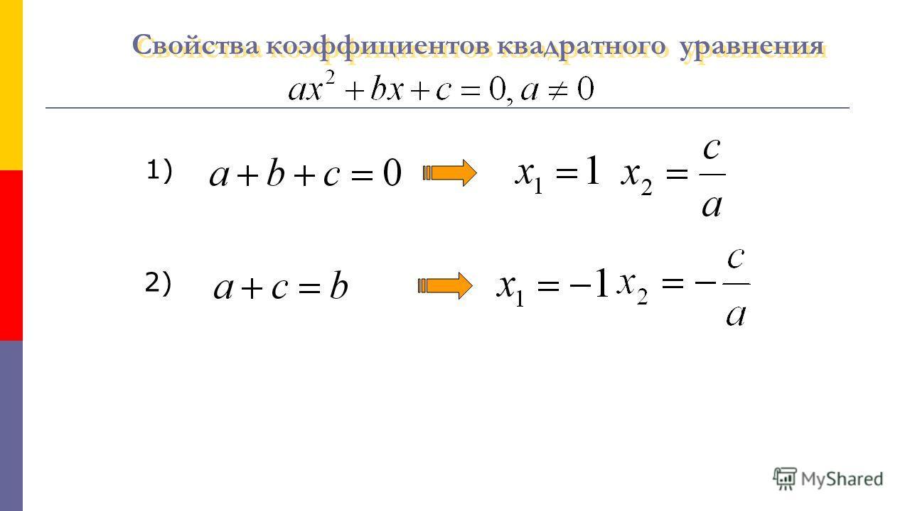 Свойства коэффициентов квадратного уравнения Свойства коэффициентов квадратного уравнения 1) 2)