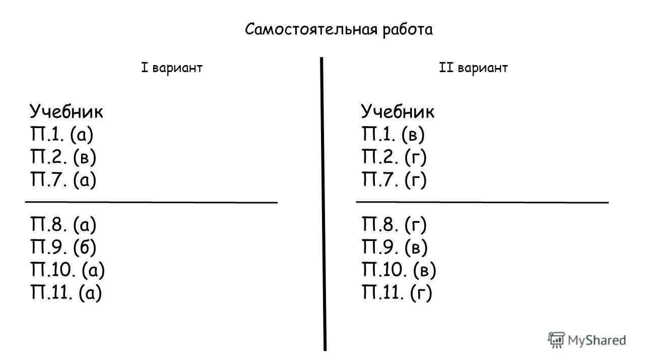 Самостоятельная работа I вариантII вариант Учебник П.1. (а) П.2. (в) П.7. (а) П.8. (а) П.9. (б) П.10. (а) П.11. (а) Учебник П.1. (в) П.2. (г) П.7. (г) П.8. (г) П.9. (в) П.10. (в) П.11. (г)