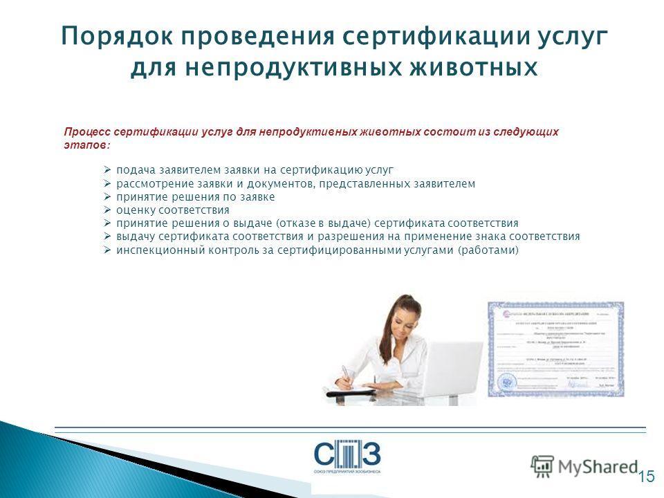 Порядок проведения сертификации услуг для непродуктивных животных 15 Процесс сертификации услуг для непродуктивных животных состоит из следующих этапов: подача заявителем заявки на сертификацию услуг рассмотрение заявки и документов, представленных з