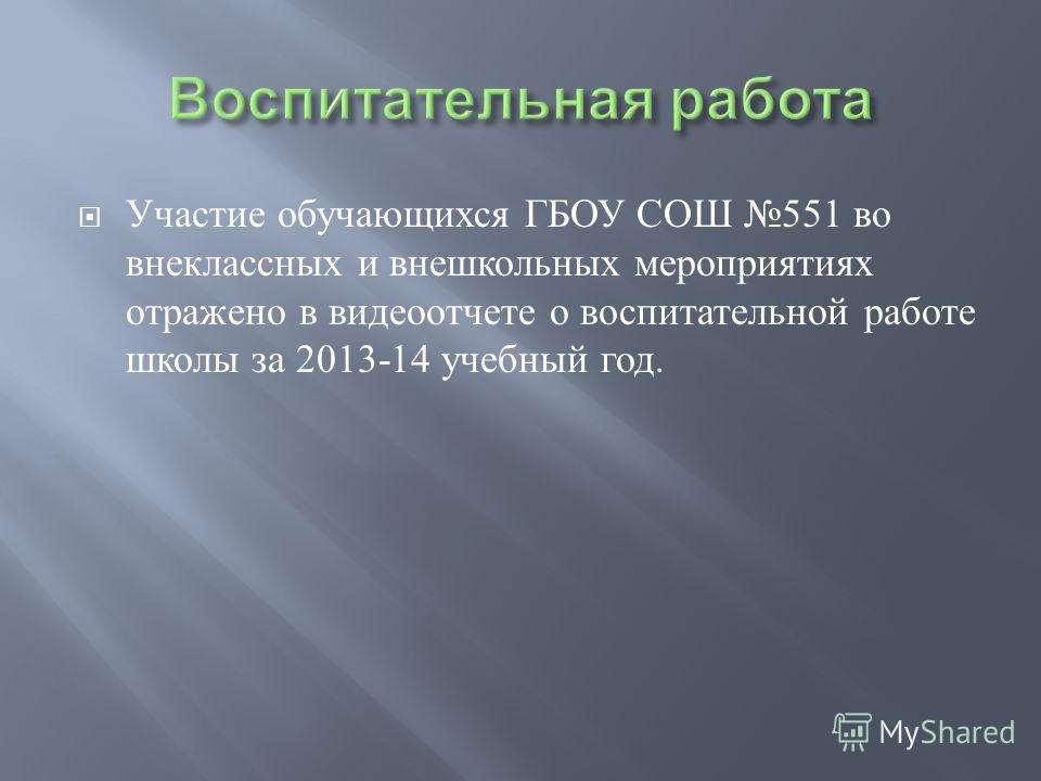 Участие обучающихся ГБОУ СОШ 551 во внеклассных и внешкольных мероприятиях отражено в видеоотчете о воспитательной работе школы за 2013-14 учебный год.