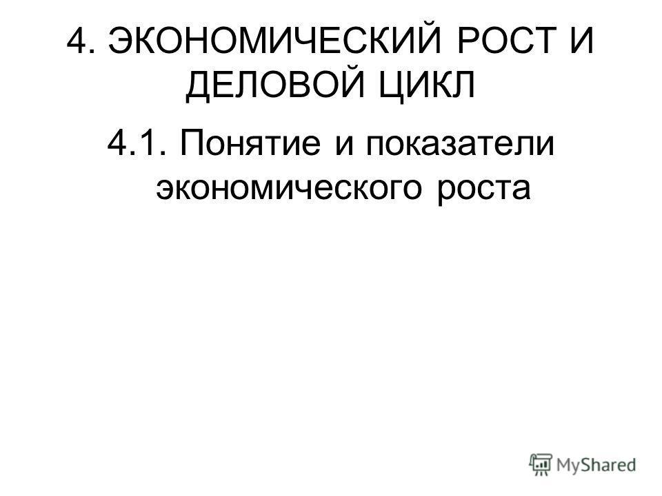 4. ЭКОНОМИЧЕСКИЙ РОСТ И ДЕЛОВОЙ ЦИКЛ 4.1. Понятие и показатели экономического роста