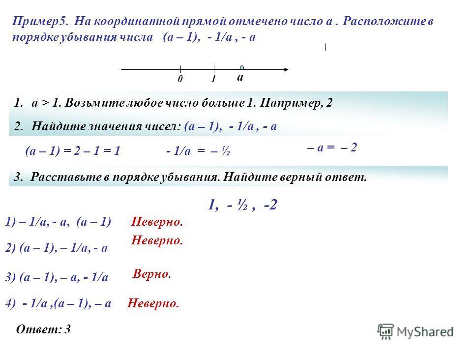 Пример 5. На координатной прямой отмечено число а. Расположите в порядке убывания числа (а – 1), - 1/а, - а 1) – 1/а, - а, (а – 1) Неверно. Верно. Неверно. Ответ: 3 Неверно. а 01 2) (а – 1), – 1/а, - а 3) (а – 1), – а, - 1/а 4) - 1/а,(а – 1), – а 1.