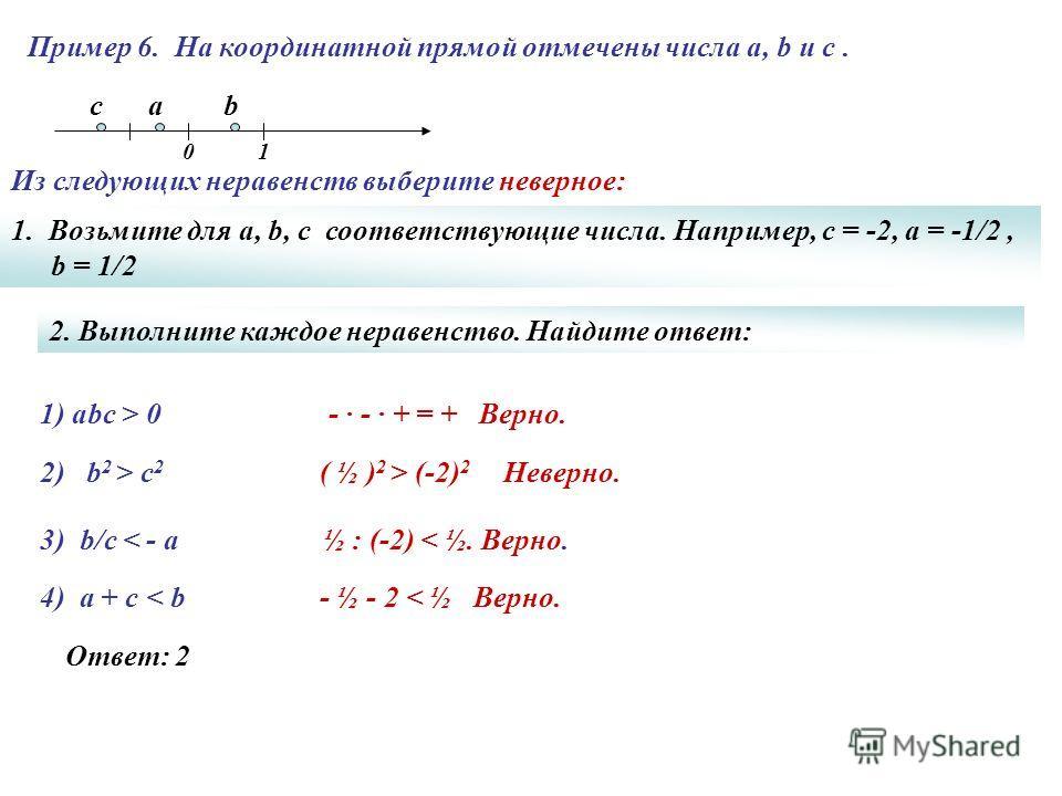 Пример 6. На координатной прямой отмечены числа а, b и с. 1) аbc > 0- · - · + = + Верно. ½ : (-2) < ½. Верно. - ½ - 2 < ½ Верно. Ответ: 2 ( ½ ) 2 > (-2) 2 Неверно. c 01 2) b 2 > c 2 3) b/c < - а 4) a + c < b 1. Возьмите для а, b, c соответствующие чи