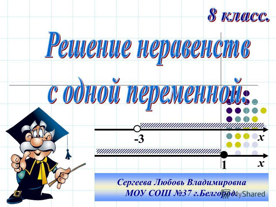 х х -3 1 Сергеева Любовь Владимировна МОУ СОШ 37 г.Белгород.