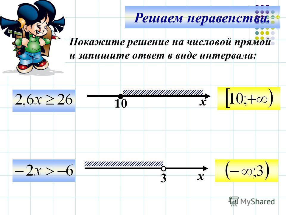 Решаем неравенства. х 10 3 х Покажите решение на числовой прямой и запишите ответ в виде интервала: