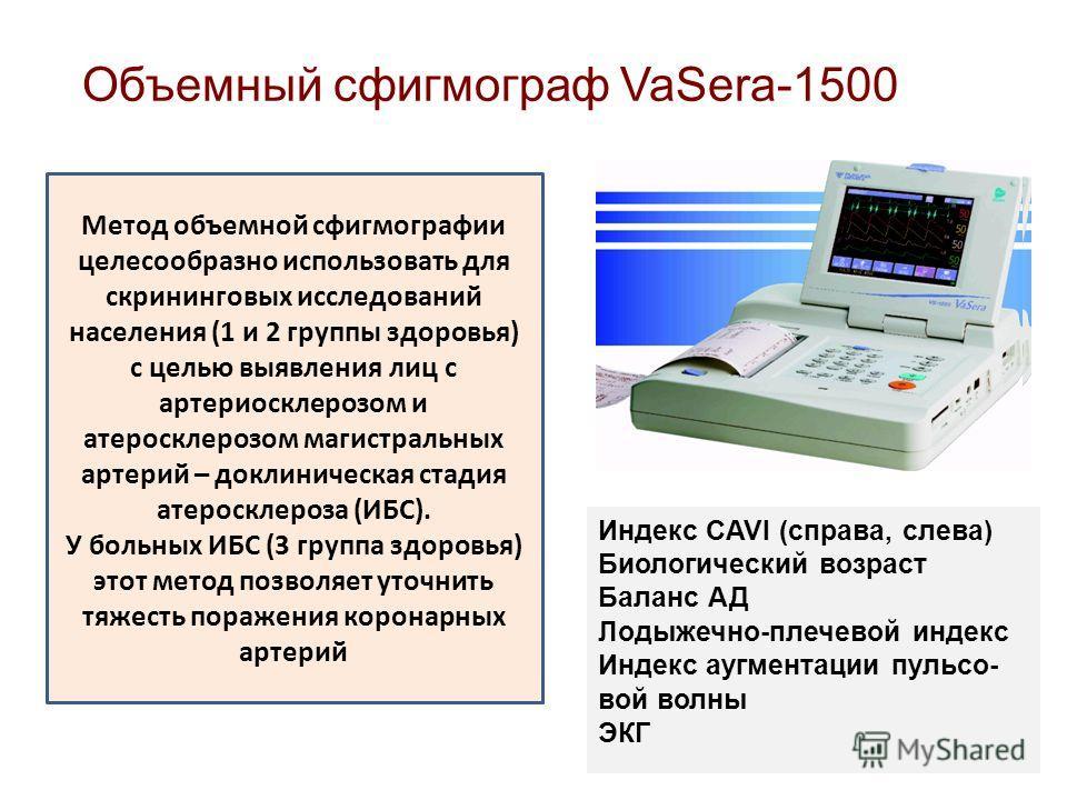Объемный сфигмограф VaSera-1500 Индекс CAVI (справа, слева) Биологический возраст Баланс АД Лодыжечно-плечевой индекс Индекс аугментации пульсо- вой волны ЭКГ Метод объемной сфигмографии целесообразно использовать для скрининговых исследований населе
