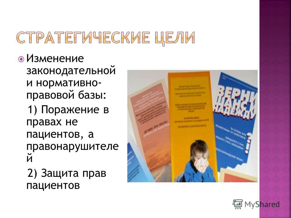 Изменение законодательной и нормативно- правовой базы: 1) Поражение в правах не пациентов, а правонарушителе й 2) Защита прав пациентов